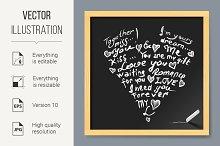 Valentine card on chalkboard
