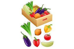 Organic vegetables fresh agriculture harvest in cardboard box