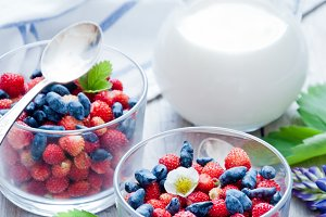 Breakfast with Berries and milk