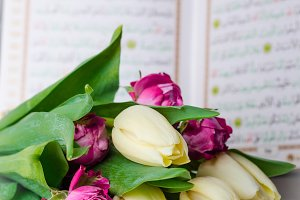 Bouquet of tulips with Quran