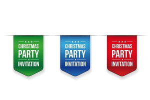 Christmas Party invitation ribbon