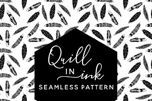 Quill in Ink Seamless Pattern
