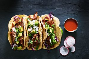 street tacos flat lay