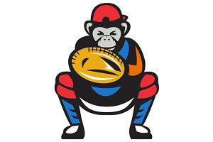 Chimpanzee Baseball Catcher Retro