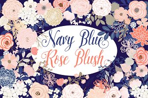 Navy blue and Rose blush flowers