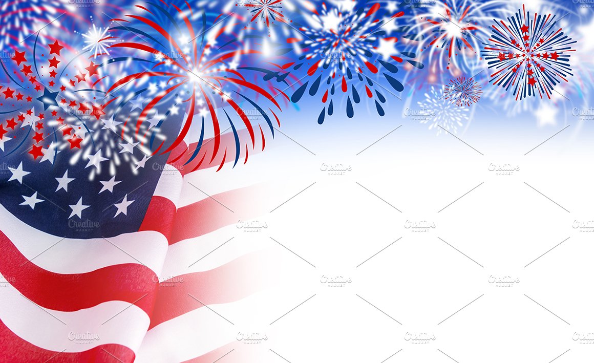 usa flag with fireworks illustrations creative market