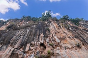 Rocky cliff at mountain in Laos