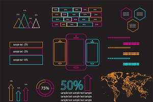 Infographic elements neon outlines