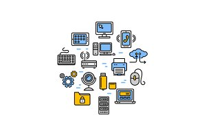 Computer Technology Round Icon Set