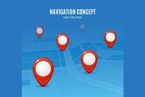 Navigation Concept Road City Map.