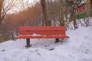 Snow on wood bench in park
