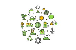 Ecology Round Icon Set