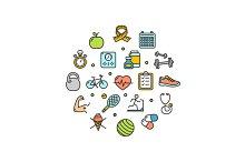 Fitness Health Life Round Icon Set