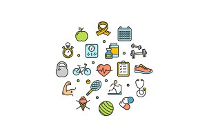 Fitness Health Life Round Icon Set