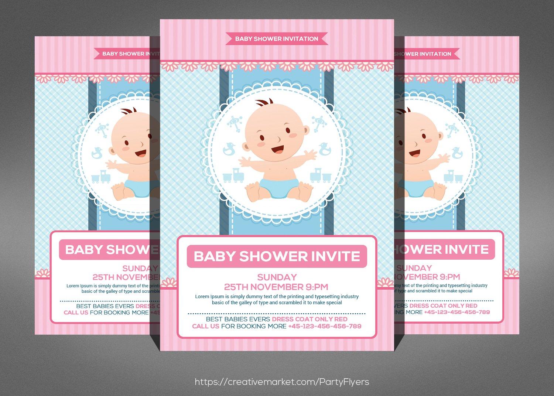 baby shower invitation card template flyer templates creative market. Black Bedroom Furniture Sets. Home Design Ideas