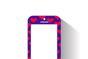 Smartphone icon with hearts