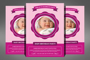 Baby Birthday Party Invitation Flyer
