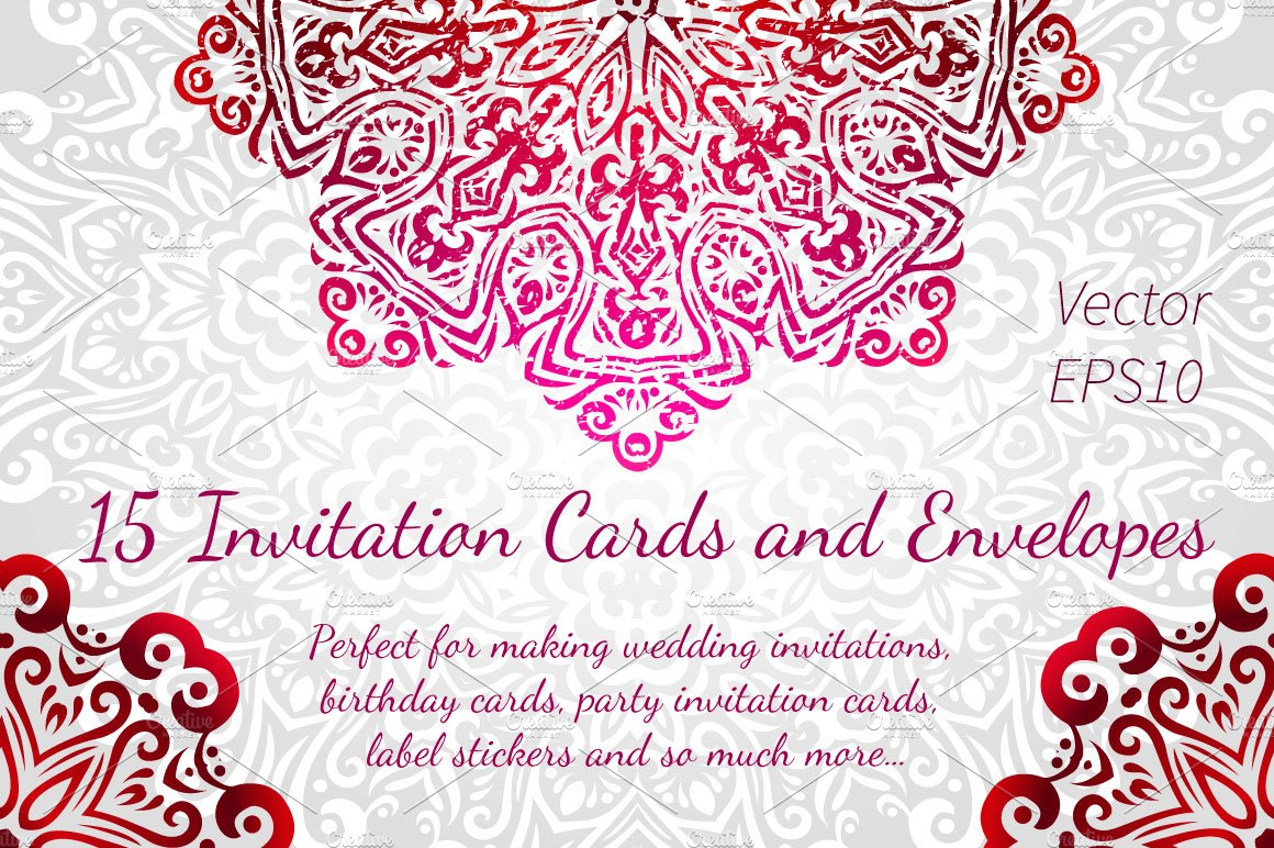 15 Invitations Cards and Envelopes ~ Invitation Templates ~ Creative ...