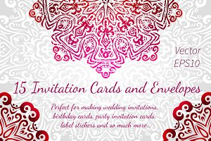 15 Invitations Cards and Envelopes