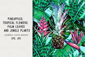 Pineapple,jungle plants pattern