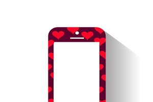 Smartphone icon with hearts purple