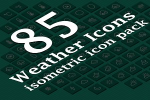 85 Weather Isometric Icon Pack