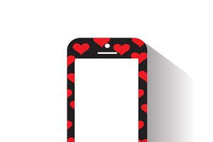 mobile phone with heart icon pattern