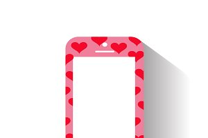 mobile phone with heart icon pink