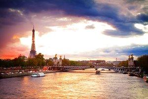 Bridge of Alexandre III and Eiffel tower,  Paris,