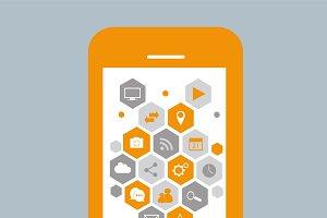 Smartphone material design orange