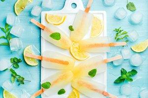 Homemade lemonade popsicles