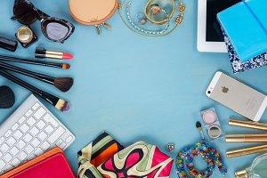 styled feminine flat lay desktop