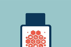 Smart watch material design blue