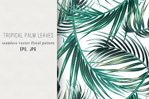 Tropical palm leaves vector pattern