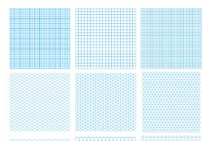 Set of nine cyan geometric grids
