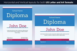 Blue Diploma Template