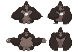Set of funny gorilla