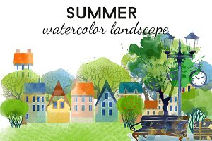 Summer watercolor landscape