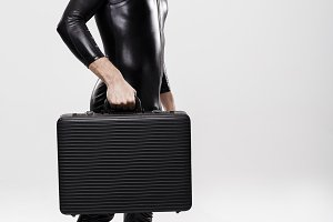 Futuristic businessman with briefcase