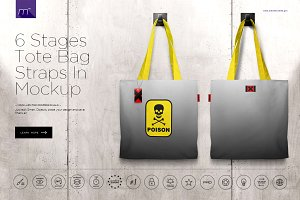 6 Stages Tote Bag Straps In Mock-up