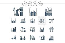 Factories and plants icons. Set 4