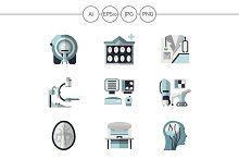 MRI equipment flat icons. Set 3
