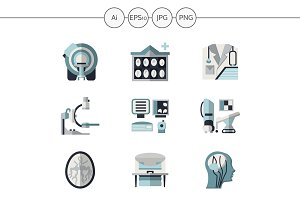 MRI equipment flat icons. Set 3