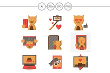 Red cat selfie color icons. Set 3