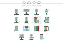 Outdoor advertising elements icons