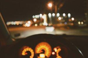 Blurred car interior