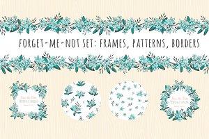 Forget-me-not set:patterns & frames