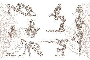 Beautiful poses in yoga. Vector