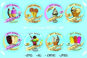 Ice Cream vector Set Menu