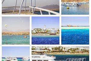 Egypt Collage, tourist boat trip on Red sea, Sharm El Sheikh